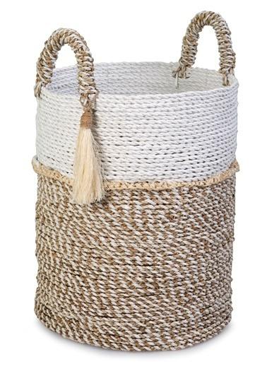 Kanca Ev Seagrass Hasır, Püsküllü Yuvarlak Derin Sepet, Beyaz-Natürel, Orta Beyaz